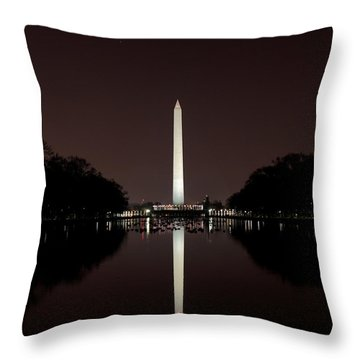 The Washington Monument - Reflections At Night Throw Pillow