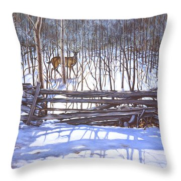 The Watcher In The Wood Throw Pillow by Richard De Wolfe