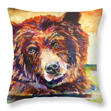 Throw Pillow featuring the painting The Water Bear by P Maure Bausch