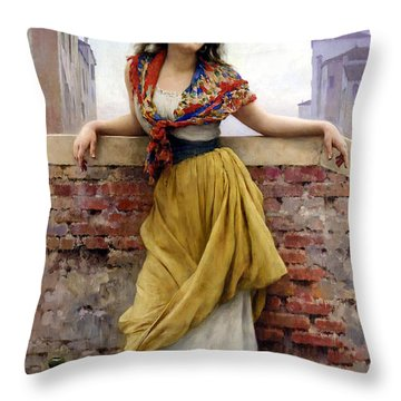 The Water Carrier Throw Pillow by Eugene de Blaas