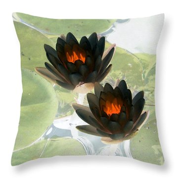 Throw Pillow featuring the photograph The Water Lilies Collection - Photopower 1039 by Pamela Critchlow