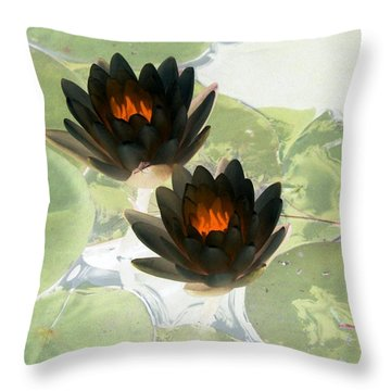 Throw Pillow featuring the photograph The Water Lilies Collection - Photopower 1040 by Pamela Critchlow