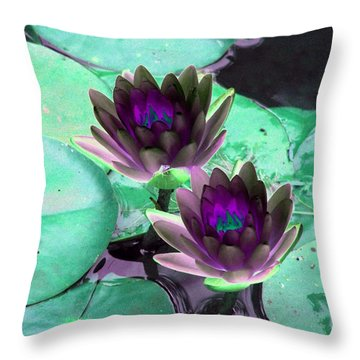Throw Pillow featuring the photograph The Water Lilies Collection - Photopower 1118 by Pamela Critchlow