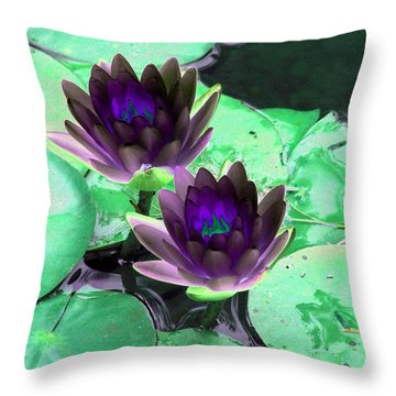 Throw Pillow featuring the photograph The Water Lilies Collection - Photopower 1119 by Pamela Critchlow
