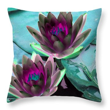 Throw Pillow featuring the photograph The Water Lilies Collection - Photopower 1124 by Pamela Critchlow