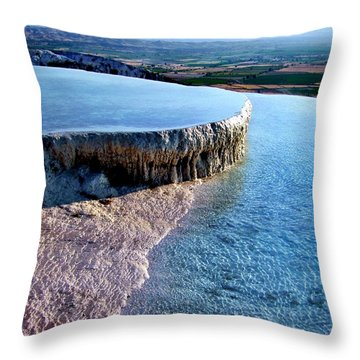 Throw Pillow featuring the photograph The Water With White Paint by Zafer Gurel