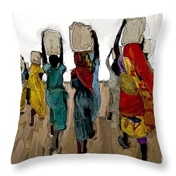 The Water Workers Throw Pillow by Vannetta Ferguson