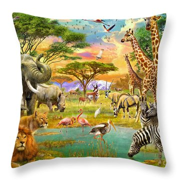 The Watering Hole Throw Pillow by Jan Patrik Krasny