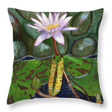 Throw Pillow featuring the painting The Waterlily by Laura Forde