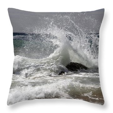 The Wave And The Rock Throw Pillow by Jennifer Kathleen Phillips