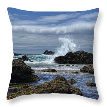 The Waves At Haystack Rock Throw Pillow