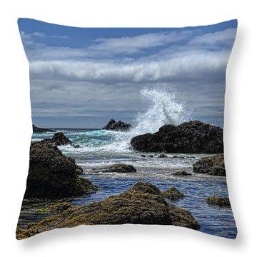 The Waves At Haystack Rock Throw Pillow