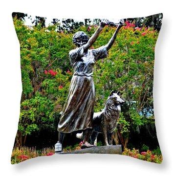 The Waving Girl Of Savannah Throw Pillow