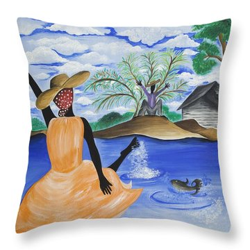 The Welcome River Throw Pillow by Patricia Sabree