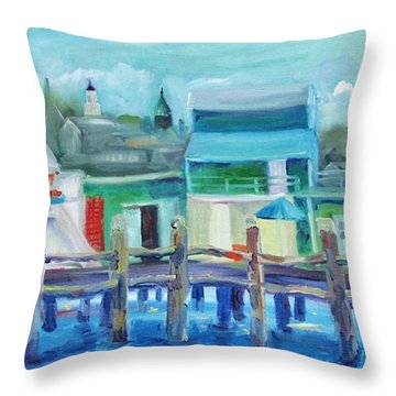 The Wharf In August Throw Pillow by Maria Milazzo