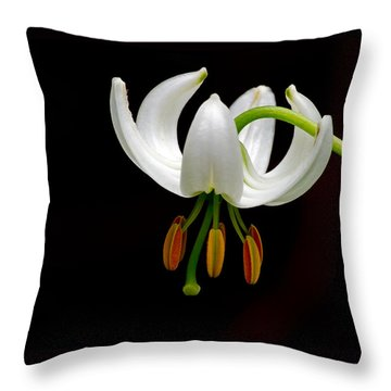 The White Form Of Lilium Martagon Named Album Throw Pillow by Torbjorn Swenelius