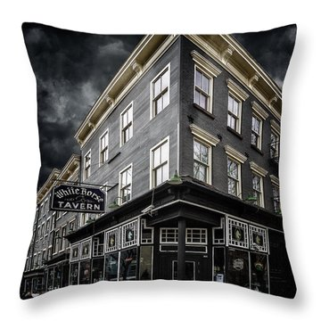 The White Horse Tavern Throw Pillow by Chris Lord