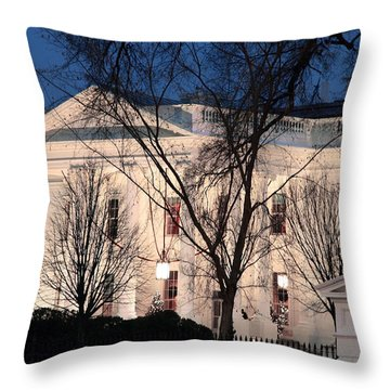 Throw Pillow featuring the photograph The White House At Dusk by Cora Wandel
