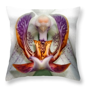 The White Orchid Throw Pillow
