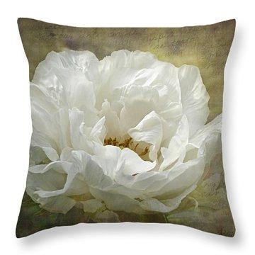 The White Peony Throw Pillow by Barbara Orenya