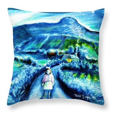 Throw Pillow featuring the painting The White Ribbon - Eagle Hill  by Trudi Doyle