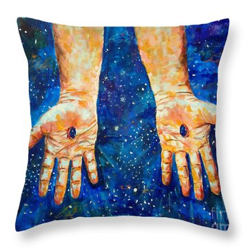 The Whole World In His Hands Throw Pillow by Lou Ann Bagnall