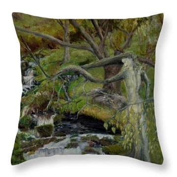 The Willow Woman Washing Her Hair Throw Pillow