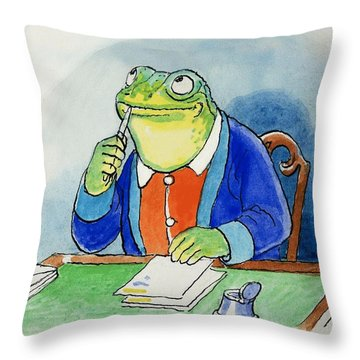 The Wind In The Willows Toad Composing A Letter Throw Pillow