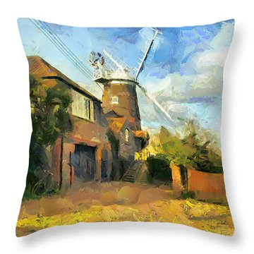 Throw Pillow featuring the painting The Windmill by Wayne Pascall