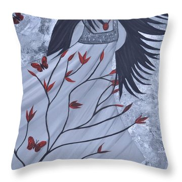 The Wind Of The Spirit Acrylic Painting By Saribelle Rodriguez Throw Pillow by Saribelle Rodriguez