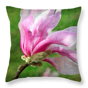 The Windblown Pink Magnolia - Flora - Tree - Spring - Garden Throw Pillow by Andee Design
