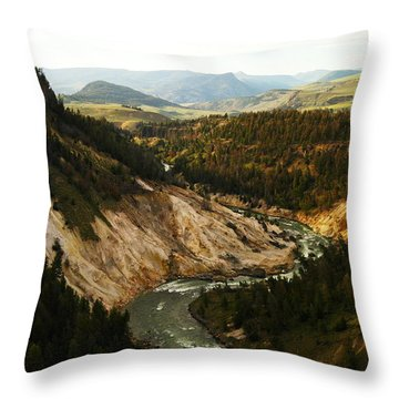 The Winding Yellowstone Throw Pillow by Jeff Swan