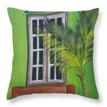The Window Throw Pillow by Gloria E Barreto-Rodriguez