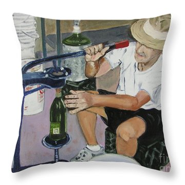 The Wine Maker Throw Pillow