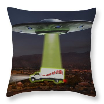The Wine-oh-store Throw Pillow by Mike McGlothlen