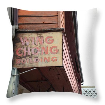 The Wing Chong Building On Monterey Cannery Row California 5d24786 Throw Pillow