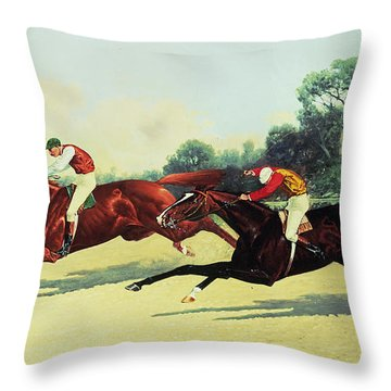 The Winning Post In Sight Throw Pillow by Henry Stull