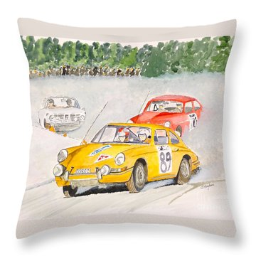 Throw Pillow featuring the painting The Winter Rally by Eva Ason