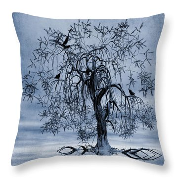 The Wishing Tree Cyanotype Throw Pillow by John Edwards