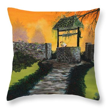 The Wishing Well Throw Pillow by David Kacey