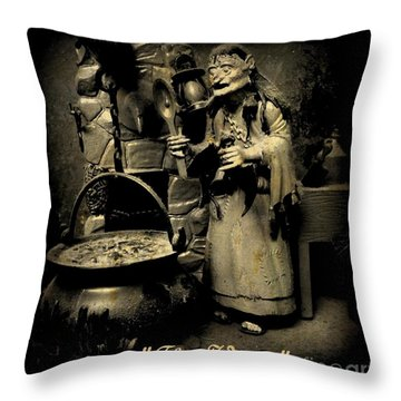 The Witch Throw Pillow by John Malone