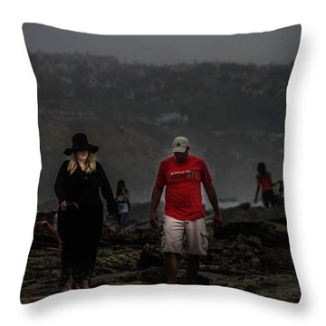 The Witch On The Beach Throw Pillow