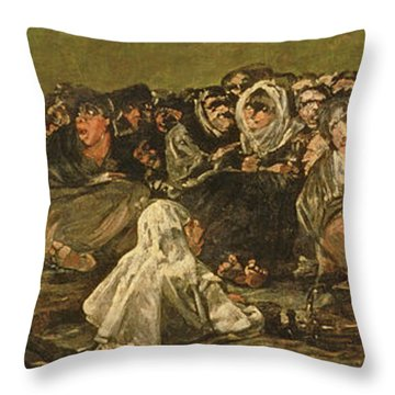 The Witches Sabbath Or The Great He-goat, One Of The Black Paintings, C.1821-23 Oil On Canvas Throw Pillow
