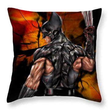 The Wolverine Throw Pillow by Pete Tapang