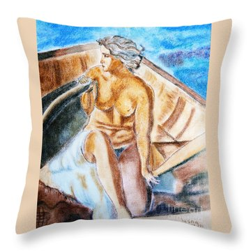 The Woman Rower Throw Pillow by Jasna Dragun