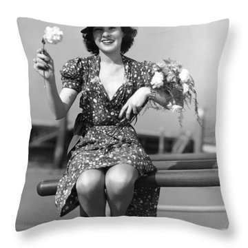 The Woman With Carnations Throw Pillow by Underwood Archives
