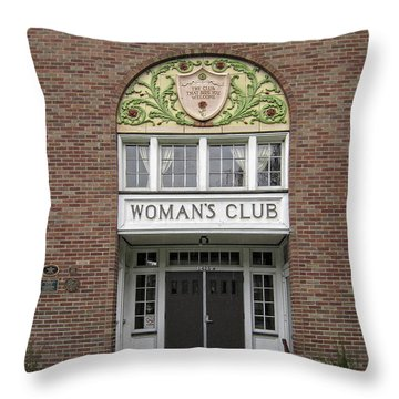 The Womans Club Bids You Welcome Throw Pillow by Daniel Hagerman