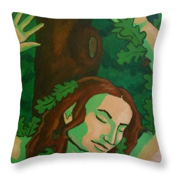 The Wooded Woman Throw Pillow