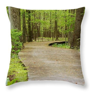 Throw Pillow featuring the photograph The Wooden Path by Patrick Shupert