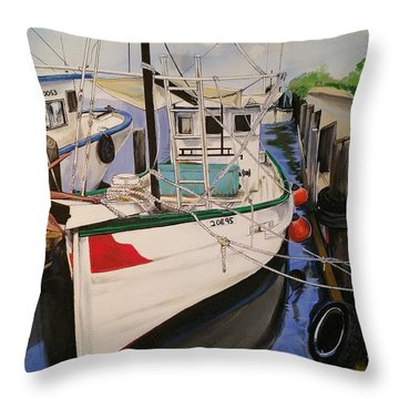 The Wooden Work Boats Throw Pillow